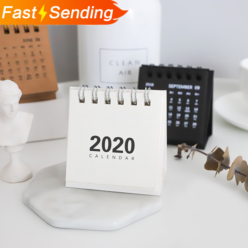 1Pc 2019 2020 Simple Desk Coil Calendar Cartoon Mini Desktoptop Table Calendars DIY Memo Pad Planner Schedules School Supplies