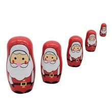 5 Pcs Natürliche Holz Russian Nesting Dolls Holz Stapeln Spielzeug Santa Claus Russische Matryoshka Puppen für Kinder Geburtstag Weihnachten Geschenke