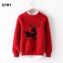 GFMY 2019 Autumn Winter  Fashion Water velvet O-Collar Sweater For Boys Girls Auspicious Pattern Baby Warm Coat Kids Sweaters