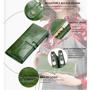 Image 4 - Зеленый красный клатч модный женский кошелек из натуральной кожи, женские длинные кошельки с отделением для карт, с отделение для монет на молнии для iPhone 8 Plus