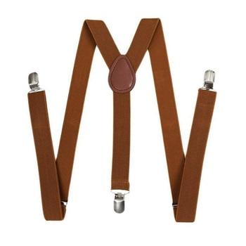 Unisex Clip on Suspender Elastic Y-Shape Back Formal Adjustable Braces, Brown 2