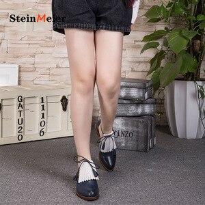Image 3 - صنادل نسائية مسطحة من الجلد الطبيعي أحذية نسائية من Yinzo صنادل صفراء مسطحة أحذية نسائية كلاسيكية أحذية أكسفورد للنساء 2020