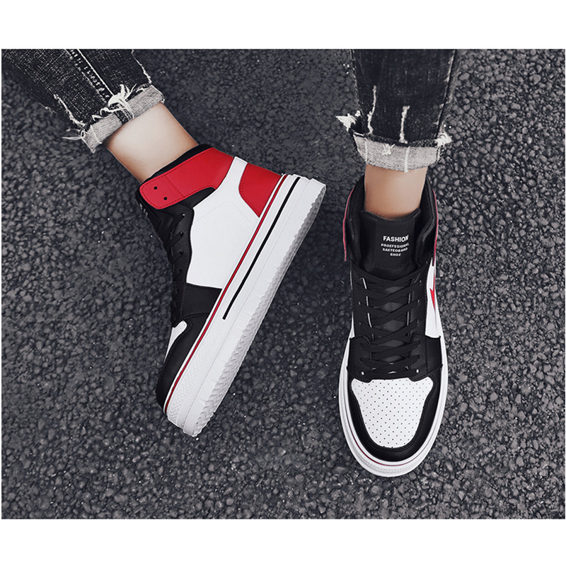 Classic Men's Fashion Casual Shoes High Top Sneaker 2019 Spring New Men Shoes High Quality Non slip Walking Shoe Zapatillas - 5
