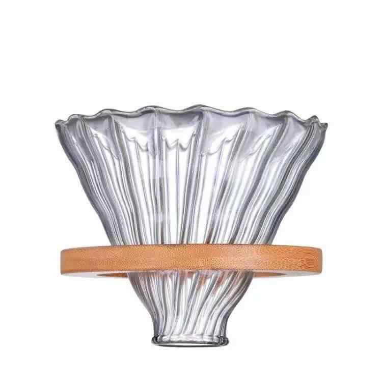 Filtros reutilizables V60 cristal \ gotero de café de madera para filtro de café de estilo Hario filtros de café reutilizables