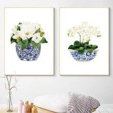 Nordic Плакаты Белая орхидея и Магнолия с рисунками в китайском