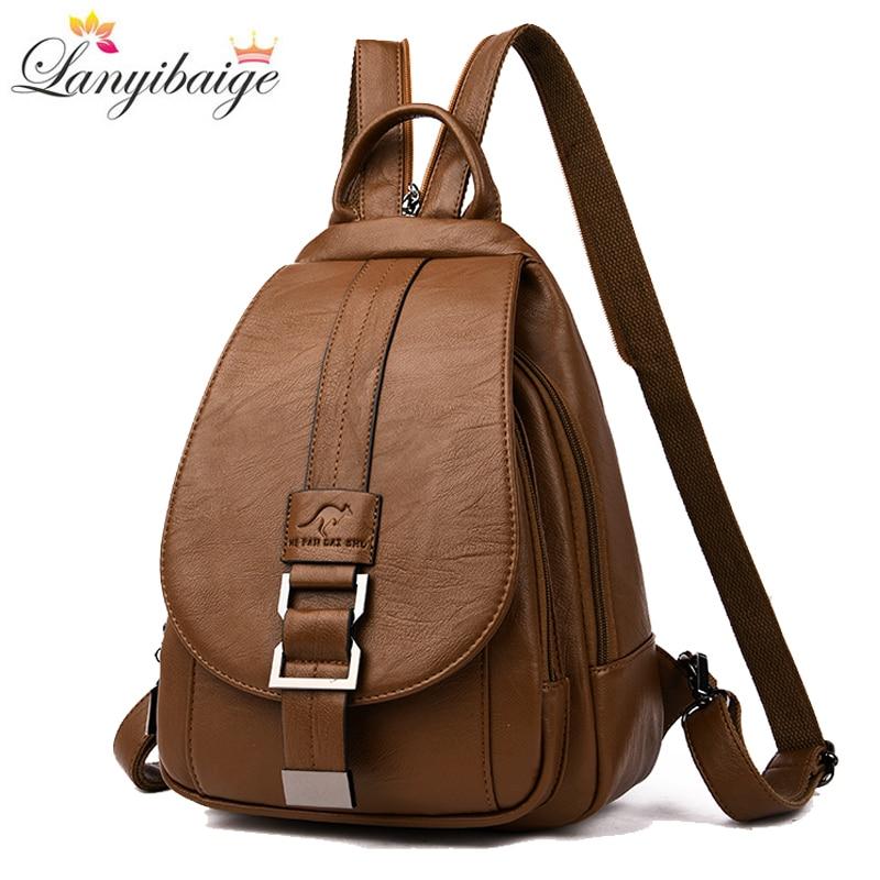 2019 Women Leather Backpacks Vintage Female Shoulder Bag Sac A Dos Travel Ladies Bagpack Large Mochilas School Bags For Girls