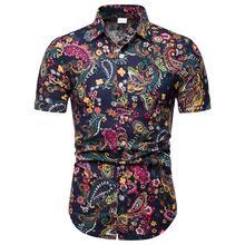 купить New streetwear Men Shirt Plus Size Cotton Printed Short Sleeve Casual Turn-down Collar Shirts Tie Summer Tops дешево