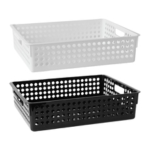 Durable Plastic Storage Basket File Tray Desktop A4 File Magazine Storage Box With Handle For Home Office