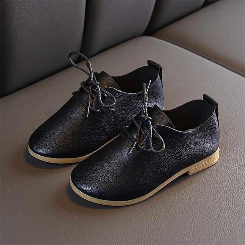 Beyaz pembe siyah çocuklar bebek dantel-up ayakkabı çocuk düğün parti elbise prenses deri sandalet gençler kız dans ayakkabıları yeni