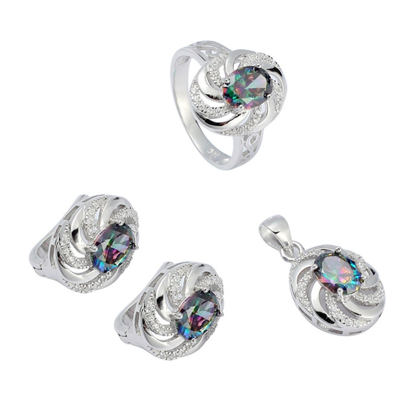 Eulonvan breloques luxe mariage bijoux ensembles femmes accessoires 925 en argent sterling livraison directe arc-en-ciel cubique zircone S-3731set