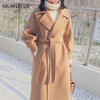 Solid Thicken Sashes Long Wool Blends Coats Women Korean Loose Lantern Sleeve Winter Cashmere Coat Female Plus Size Outerwears