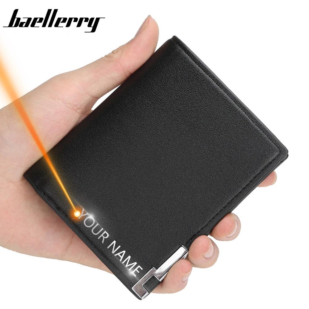 2020 Free Name Evgraving Men Wallets High Quality Small Wallet Men Business Zipper Short Male Wallet Card Holder Wallet Carteria