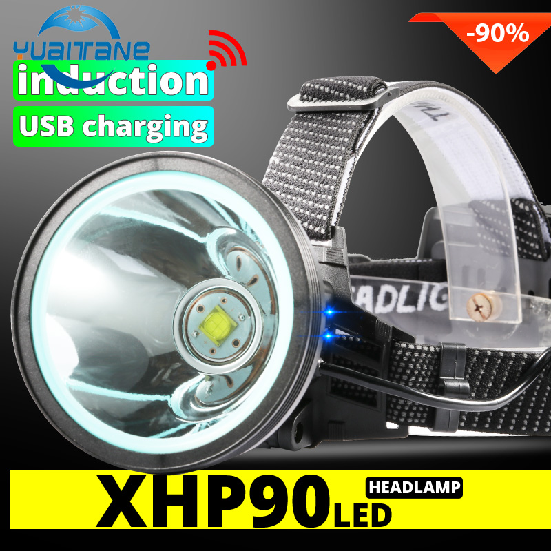8000LM LED Headlamp XHP90 Powerful Lantern Sensor Head Light USB Rechargeable With 3*18650 Battery Suit For Fishing Outlight