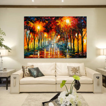 Canvas Painting Landscape Poster Walking In Rain Light Road Oil Painting Wall Art Pictures for Living Room Home Decor Cuadros