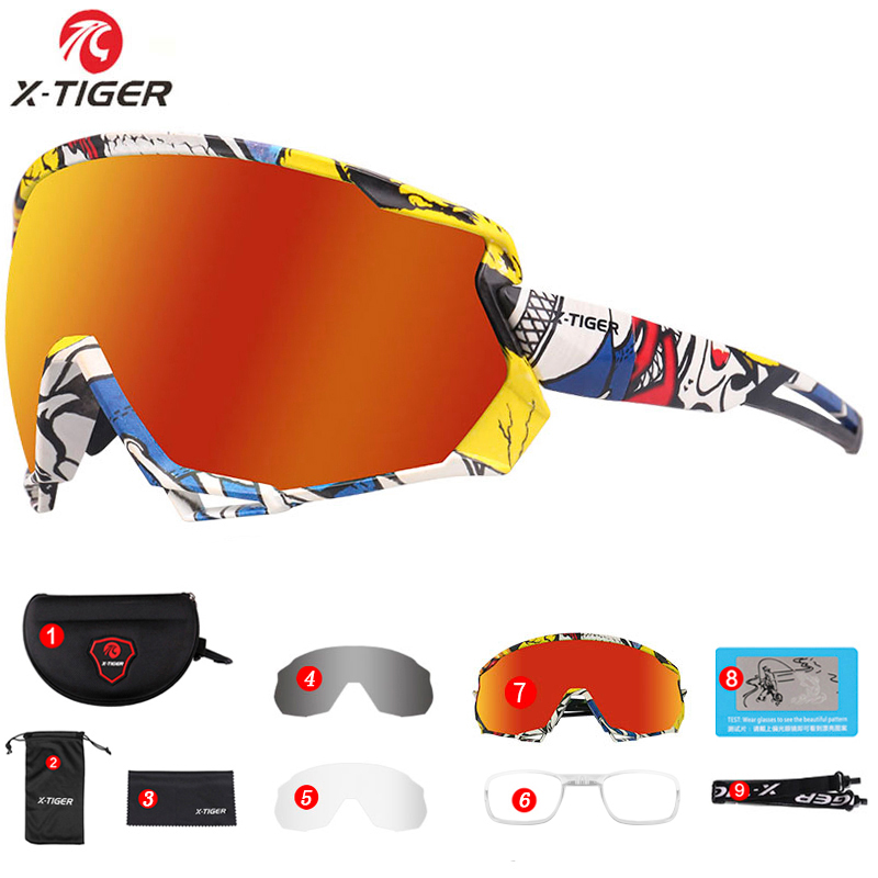 X-TIGER Cycling Sunglasses Photochromic Summer MTB Bike Cycling Glasses Unisex Outdoor Sports Polarized Road Bicycle Glasses