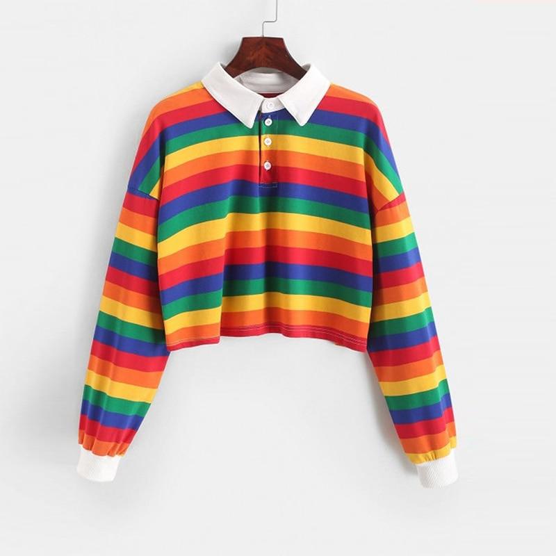 QRWR 2020 Polo Shirt Women Sweatshirt Long Sleeve Rainbow Color Ladies Hoodies With Button Striped Korean Style Sweatshirt Women 1