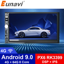 цена на Eunavi 2 Din 7'' Octa core Universal Android 9.0 4GB RAM Car Radio Stereo GPS Navigation WiFi 1024*600 Touch Screen 2din NO DVD