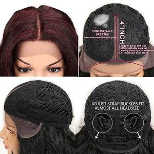 "Image 5 - M פאה 20 ""אינץ Ombre זהב כהה אדום ארוך גלי פאות Perucas קדמי תחרה שיער סינטטי פאות תחרה עבור שחור נשים Loose גל פאות"
