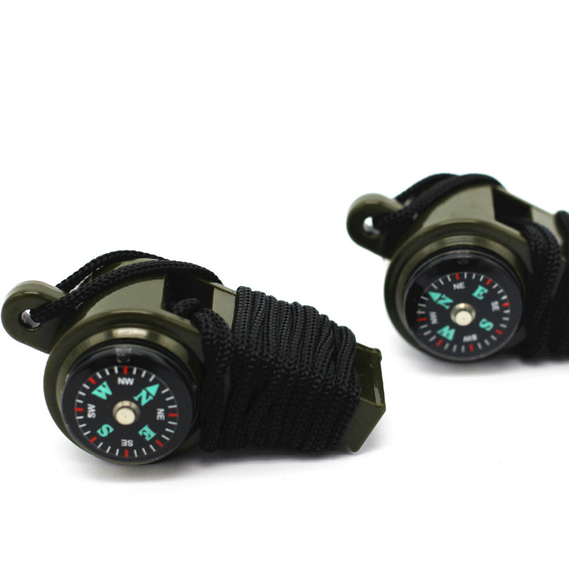 Outdoor Multi-function Survival Whistle / Coach Referee Whistle / Compass Thermometer Three In One Portable Small Tools