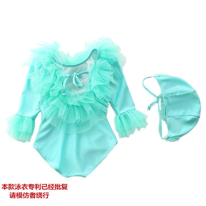 New Style GIRL'S One-piece Swimming Suit Long Sleeve Restonic Sha Yarn Flash Swimwear Princess Baby Infant Child Tour Bathing Su