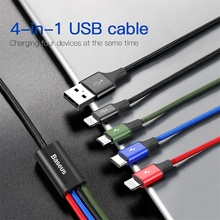4 in 1 Multi usb cable charger for iPhone 8 Samsung huawei x