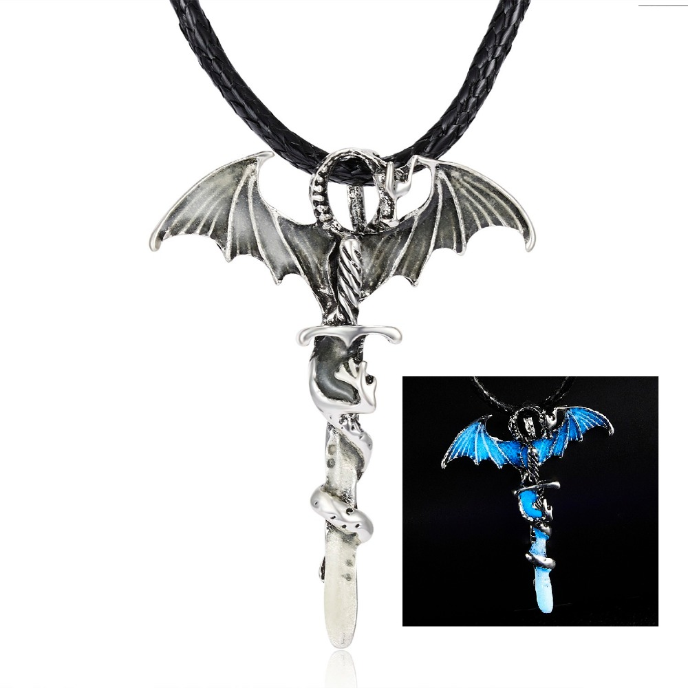 Hcb08b1b24b694377bf767c561a8e65fdl - Vintage Glow In The Dark Necklace Sword Dragon Necklaces For Man Metal Animal Pendant Night luminous Fluorescence