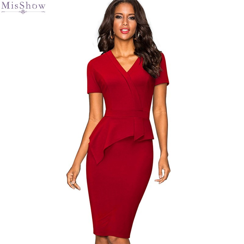 2019 Knee Length Cocktail Dresses Elegant Bodycon Party Dress Sexy V Neck Short Sleeve Formal Gown Real Photo