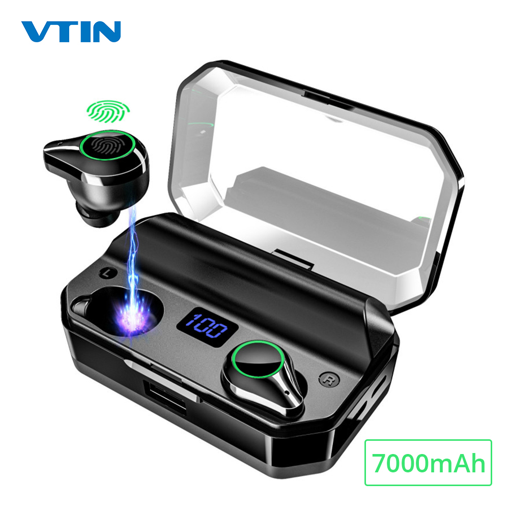 Vtin XV368 Fones de Ouvido Sem Fio Bluetooth 5.0 TWS Fone de Ouvido Com Função de Banco de Potência 7000mAh Caso De Carregamento 8H Playtime Para telefone