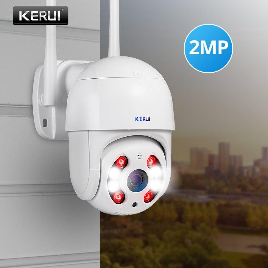 KERUI na zewnątrz wodoodporne głośniki bezprzewodowe 1080P 2MP PTZ WiFi IP kamera kopułkowa 4X Zoom cyfrowy kamera na podczerwień domu kamery monitoringu bezpieczeństwa CCTV