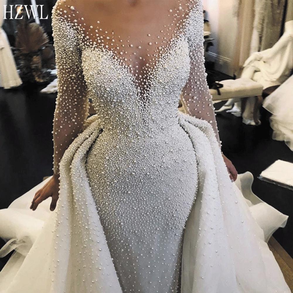 Luxury Wedding Dresses 2020 Detachable Skirt Peals Beaded Long Sleeve Elegant Wedding Gown Vestido De Noiva
