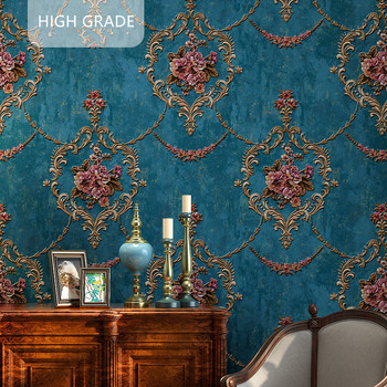 цена на High quality American wallpaper 3D rural non-woven European style wallpaper luxury retro TV background home living room bedroom