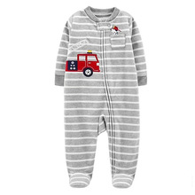0-12M Spring Autumn Newborn Baby Boys Rompers Dinosaur Long Sleeve Micro-Fleece Front Button Footed Coverall Color Jumpsuit