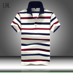 Men Polo Shirt Summer Mens Business Casual Tops Men's White Striped Short Sleeve Polo Shirt Male Work Clothing Collar Polos