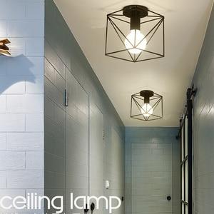 Image 4 - Vintage Ceiling Lights Lustre Luminaria Led Ceiling Lamp Loft Iron Cage Fixtures Abajur Home Lighting Plafonnier For Living Room