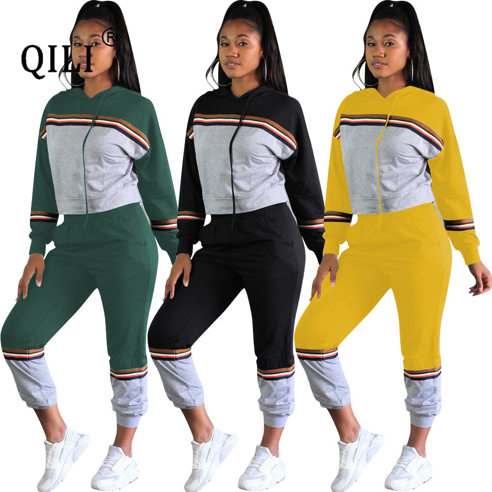 QILI Autumn Hooded Patchwork Long Sleeve Sets Women Two Piece Set Outfits Casual Comfortable Cotton Clothes for Womens