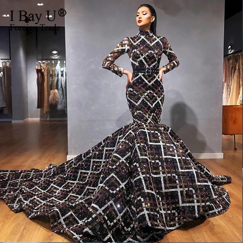 2020 Real Photo High Neck Mermaid Wedding Dress Gowns Multicolor Sequins Sheer Neckline Long Sleeves Robe De Soiree Abiye