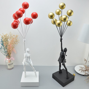 Image 3 - 고급스러운 풍선 소녀 동상 Banksy 비행 풍선 소녀 예술 조각 수 지 공예 홈 장식 크리스마스 선물 57cm