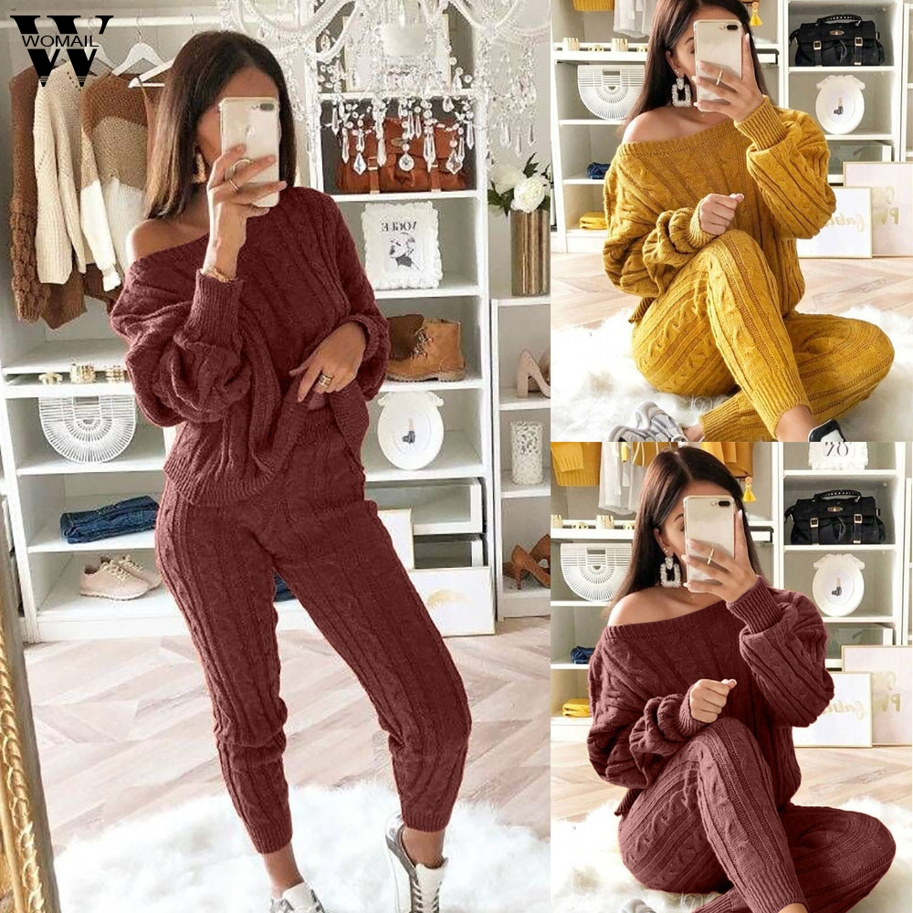 Womail Tracksuit Women Autumn 2 Piece Set Sweater Crop+Pant Knitted Suit Off Shoulder Knit Set Women Warm Outwear Fashion 924