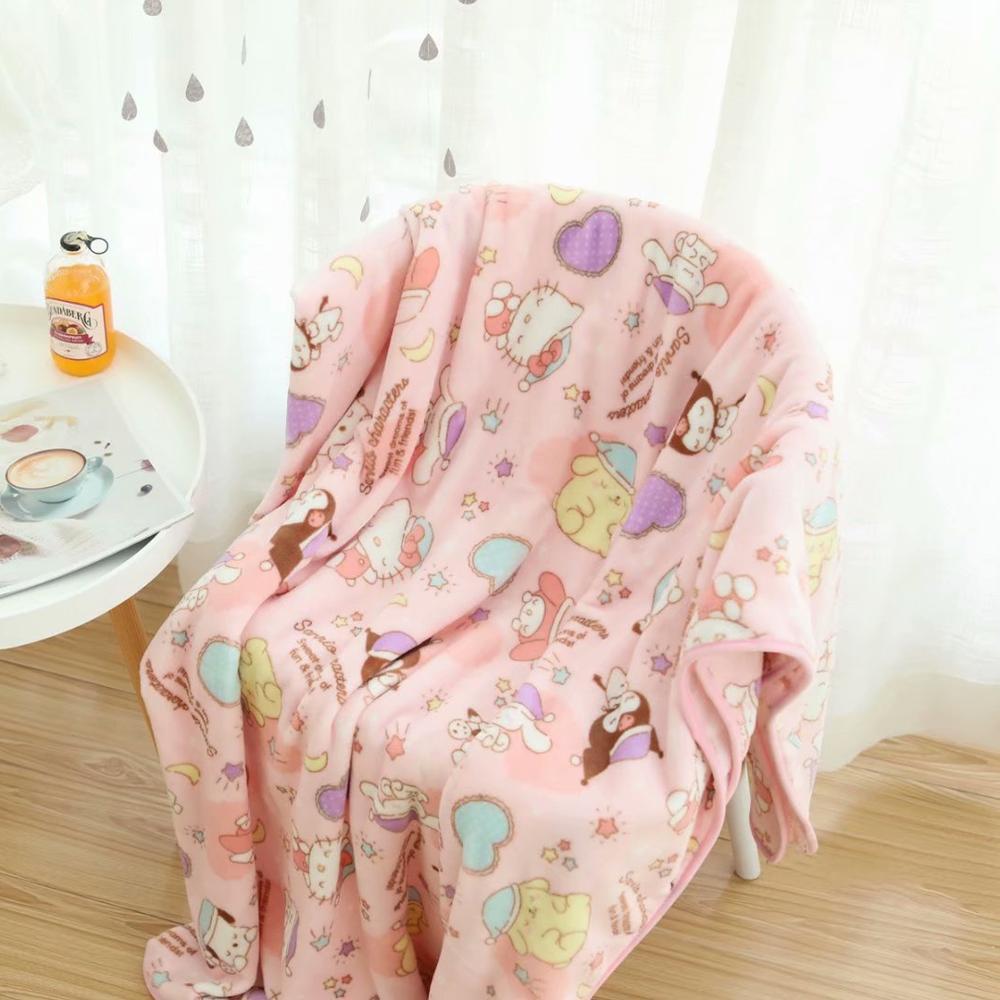 Kawaii Cartoons Pink Blanket 1