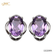 JYX Beautiful Amethyst Earing Oval Faceted Elegant Jewelry for Women Everyday Holiday Gift