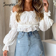 Simplee Vintage white solid women blouse shirt Off shoulder crops tops and blouse Slash neck holiday lantern sleeve shirts top