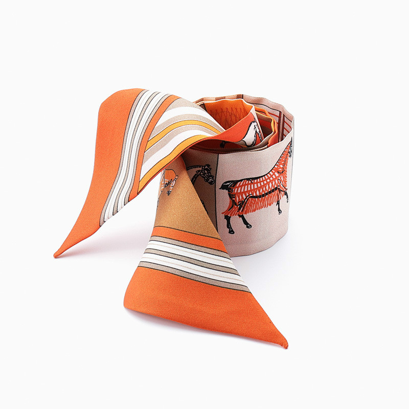 2020 Horse Pattern New Arrival Print Lady Silk Feeling Riband Scarves Bags Scarf Small Ribbon Hair Band Bandeaus Clothing Match