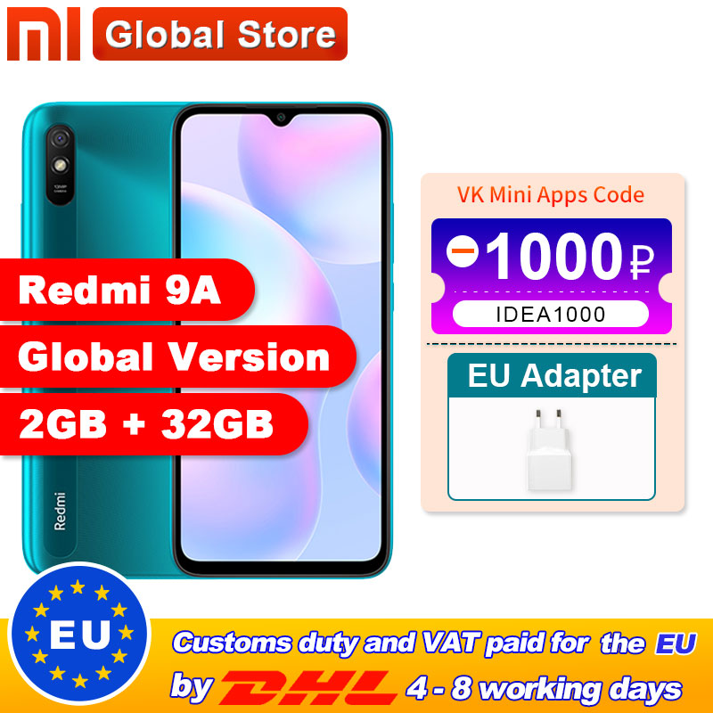 "Global Version Xiaomi Redmi 9A Mobile Phone 2GB 32GB ROM MTK Helio G25 Octa Core 6.53"" 5000mAh 13MP Camera Smartphone(China)"