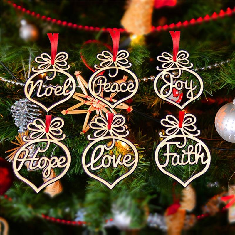 6 шт./упак. с утолщённой меховой опушкой, 2020 журнала Цвет полые деревянные рождественские украшения Счастливого Рождества Рождественская