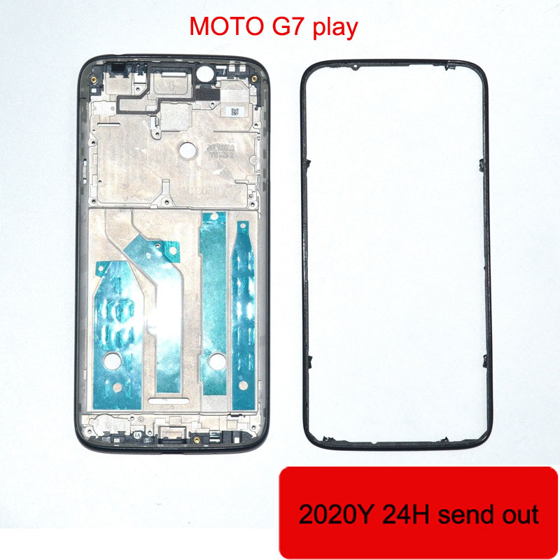 Wholesale Original For Motorola Moto G7 play <font><b>XT1952</b></font>-2 LCD metal Plate Frame + Middle Bezel Front Frame full housing <font><b>parts</b></font> image