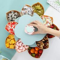 Creative Flower Petal Rotating Fruit Plate Candy Storage Box Nuts Snack Tray Double layer Flower Food Gift Box for Party Wedding