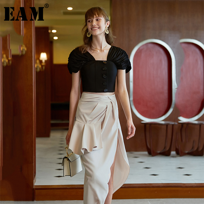 [EAM] High Elastic Waist Side Split Pleated Irregular Half-body Skirt Black Women Fashion Tide New Spring Autumn 2020 1A010