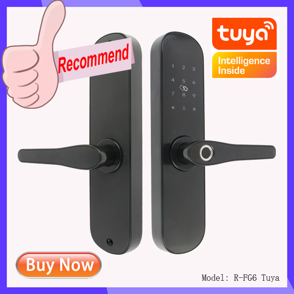Hcb0a0e18f13e424c98665cad84641c9aG Wifi Tuya APP Electronic Door Lock Biometric Fingerprint 13.56mhz IC Card Password Mobile Phone Unlock Remotely Smart Home