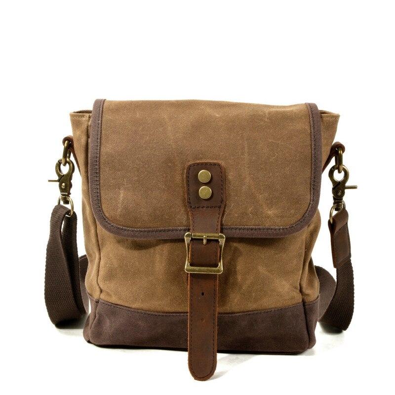 1PCS  New Men's Fashion Slant Bag Single Shoulder Oil Wax Canvas Leather Recreational Bag Outdoor Travel Bag Men Bag