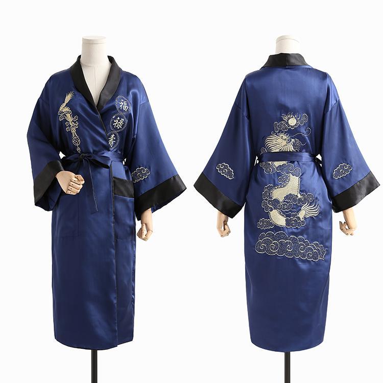 Бордовый черный Для мужчин новинка Дракон Повседневное высокое качество одежда с вышивкой свободное кимоно халат мягкие пижамы пеньюар - Цвет: Navy Blue Black